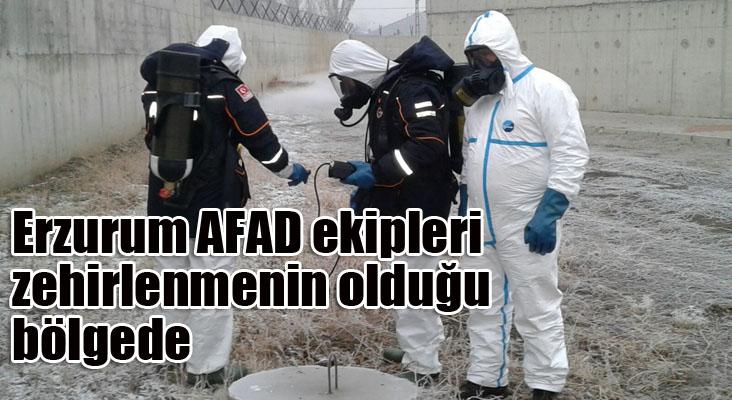 Ağrı'da özel giysili AFAD ekipleri zehirlenmenin olduğu alanda ölçüm yaptı