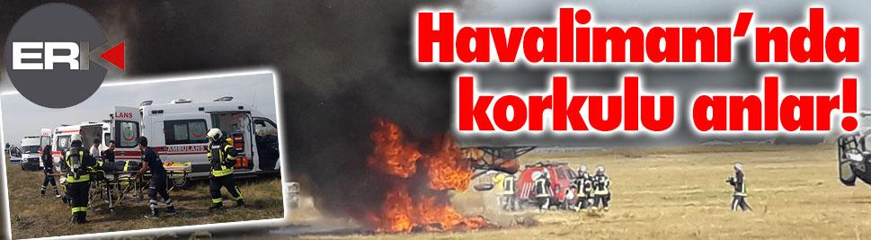 Erzurum Havalimanı'nda korkulu anlar...