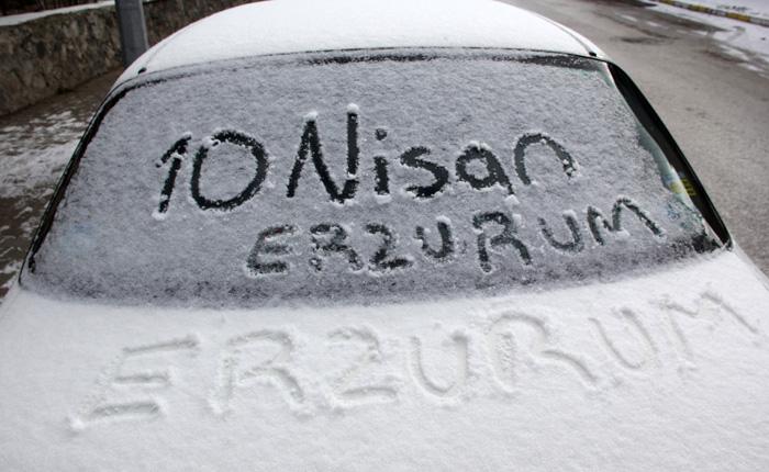 Erzurum'da kar ve soğuk hava etkili oluyor