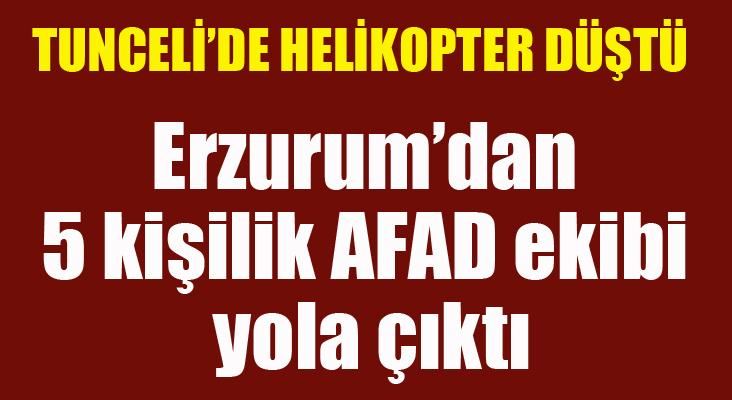 Erzurum'dan Tunceli'ye 5 kişilik AFAD ekibi yola çıktı
