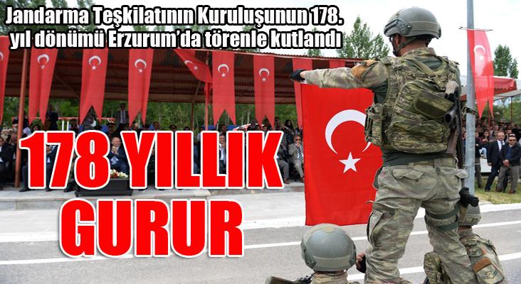 Jandarma Teşkilatının Kuruluşunun 178. yıl dönümü Erzurum'da törenle kutlandı