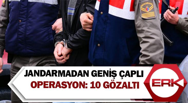 Jandarmadan geniş çaplı operasyon: 10 gözaltı