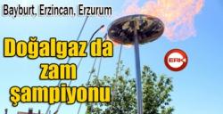 Bayburt, Erzincan ve Erzurum (TRA1) bölgesi Doğalgaz da zam şampiyonu