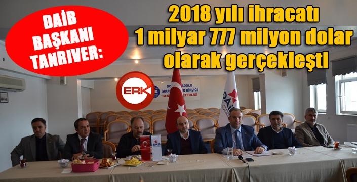 """DAİB Başkanı Tanrıver: """"2018 yılı ihracatı 1 milyar 777 milyon dolar olarak gerçekleşti"""""""