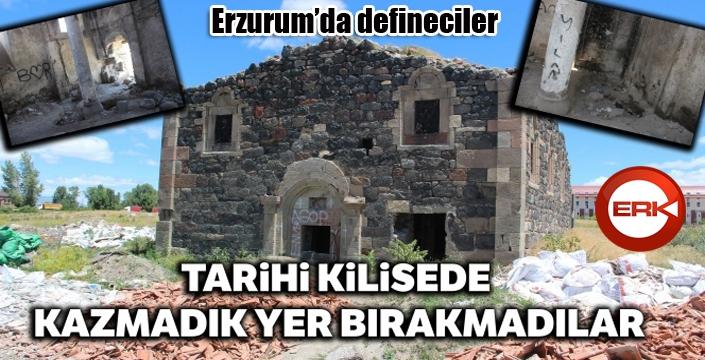 Erzurum'da defineciler tarihi kilisede kazmadık yer bırakmadı