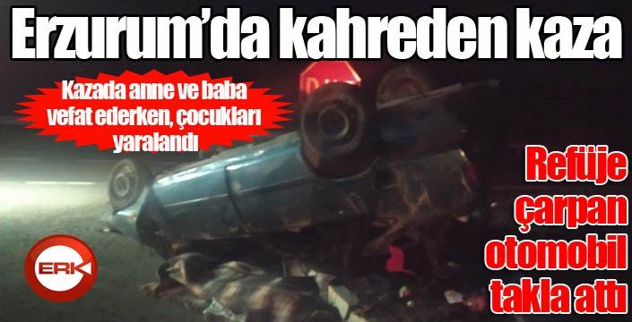 Erzurum'da feci kaza... Otomobil refüje çarparak ters döndü: 2 ölü, 2 yaralı