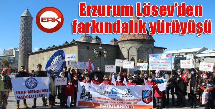 Erzurum'da Lösev'den, farkındalık yürüyüşü