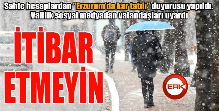 Erzurum Valiliği'nden sahte hesap uyarısı: İtibar etmeyin...
