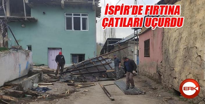 İspir'de fırtına çatıları uçurdu