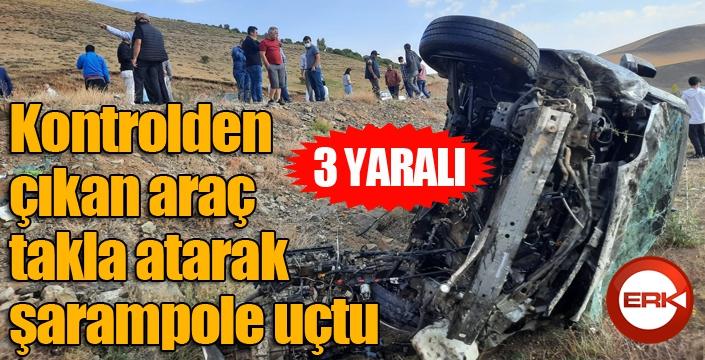 Kontrolden çıkan araç takla atarak şarampole uçtu:3 yaralı